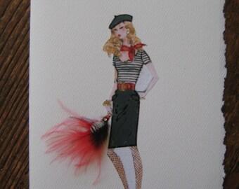 "Barbie vintage print 5x7 note card ""Tres chic Barbie"""
