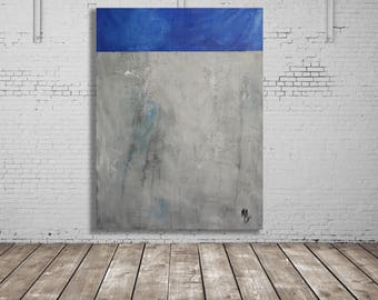 Grey and Blue Textured Abstract Painting / Original Art / Texture Painting / Modern Art / Blue and Grey Art