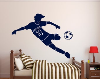 Soccer Name Wall Decal - Personalized Name Wall Decal - Soccer Wall Decal - Kids Room Wall Decal - Boys Teen Sport Vinyl Wall Decal