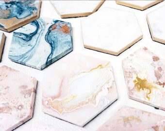 Marble Gold Hexagon Abstract Art Coasters,Custom Home Decor, Pink. blue, gold, copper, Gift, Teacher Gift, Bridesmaid Unique Gift MOH
