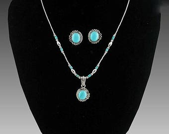 Turquoise and Liquid Sterling Necklace and Earring Set