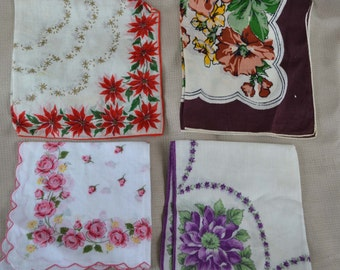 Vintage Floral Handkerchiefs