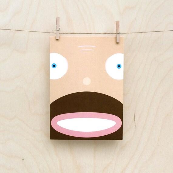 funny beardy  baldy face card,  Funny beard card, Funny bald card