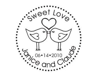Love is Sweet Love Birds Custom Wedding Rubber Stamp lovebirds