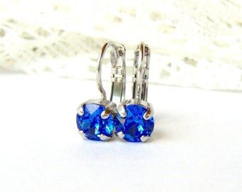 Sapphire Blue rhinestone leverback earrings / 6mm / birthday gift / Swarovski crystal / bridesmaid / September birthstone / best friend gift