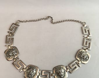 """1960s chain metal silver belt with Lion detail 33"""""""