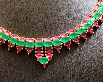 Hyderabadi Necklace, Indian Wedding Jewelry, Hyderabadi Wedding Jewelry, Desi Indian Necklace, Green Wedding Set, South Asian Wedding Set