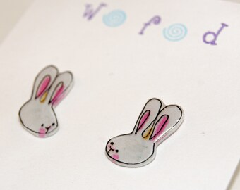 Bunny Buddies, Illustrated Hand-Made Post Earrings