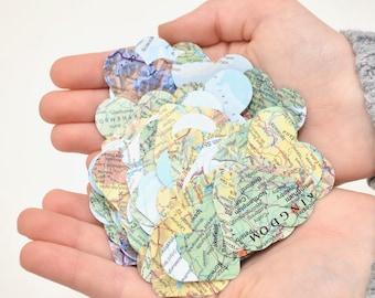 Vintage Map Heart Confetti