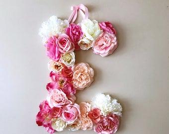 "Floral monogram, 15""/19''/24'' Floral letter, Nursery decor, Floral letter nursery, Flower letters, Baby shower, Kids gift, Flower monogram"