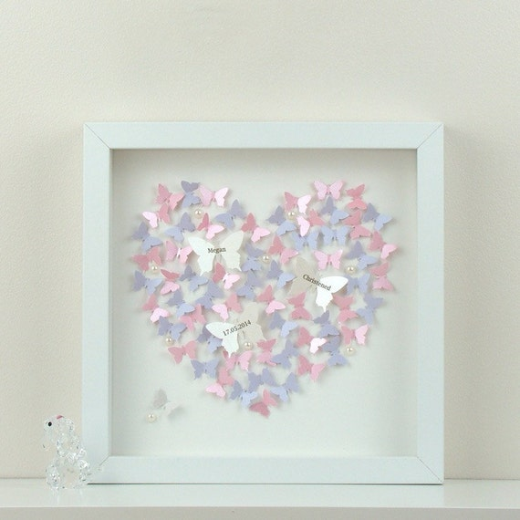 Personalised wall art with 3d paper butterflies beautiful 3d