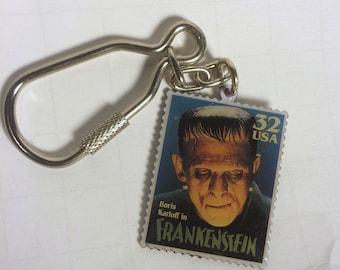 Frankenstein - Classic Universal Monsters USPS Stamp replica keychain - Boris Karloff - monster - horror