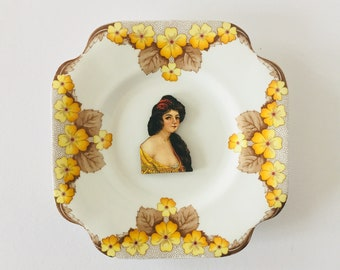 Lady in Dress with Dark Hair on Yellow Brown Floral Design Square Display Plate 3D Sculpture for Wall Decor Birthday Wedding Gift
