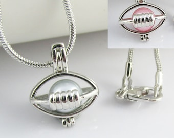 Football Cage Diffuser Pendant Necklace 46cm Select Pink or Blue Pearl