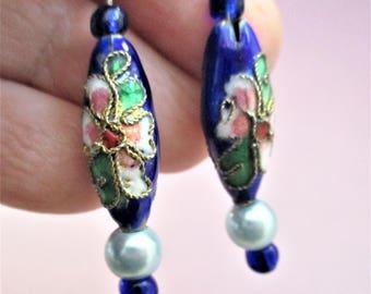 Champleve Beaded Earrings Cloisonne Earrings Vintage Pierced Earrings Lapis Blue Enamel Gold Valentine Jewelry Ear Wires Cloisonne Earrings