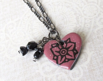 SALE! Wildflower Necklace. Heart Pendant. Valentine's Day. Black Porcelain. Ruby. Raspberry. Gunmetal Chain. Black Glass Beads. Flower. Clay