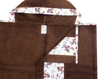 American Cowboy Hooded Towel Red White Blue Brown