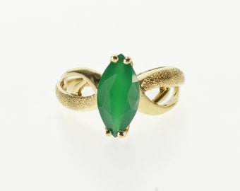 10k Marquise Emerald Pitted Textured Wavy Ring Gold