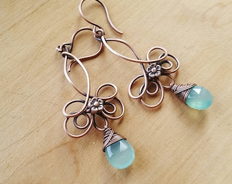 Dangle earrings copper wire earrings with blue stone earrings wire wrapped jewelry handmade earrings wire wrap chalcedony earrings blue