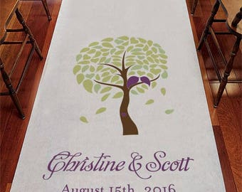 Love Bird Tree Personalized Aisle Runner Wedding Ceremony Decoration