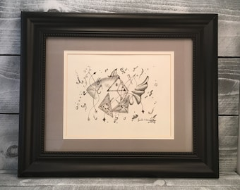 Wall Art, Original Pen and Ink Drawing by Artist Guido E. Orsini, Unique Wall Art Apartment Therapy, Geometrical Fish, Item#211835806