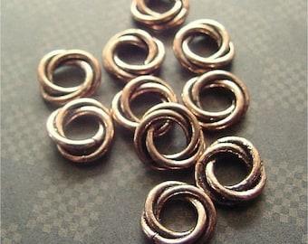 Copper Twisted Loop Rings