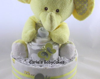 Elephant diaper cake | Neutral diaper cake| Baby shower decoration | Baby diaper cake | Baby shower gift | Unique Baby gift | New mom gift