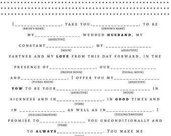 Bridal Shower Game - Wedding Vow Mad Libs