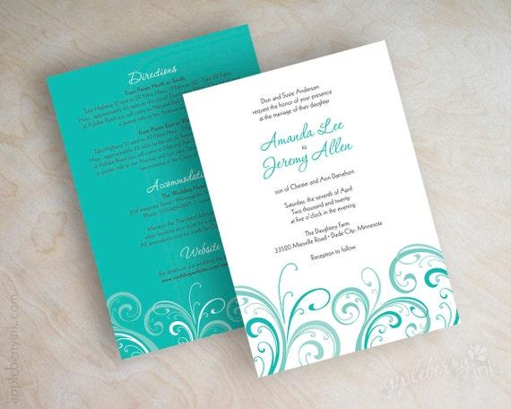 Teal Invitations Wedding: Items Similar To Teal Wedding Invitation, Contemporary