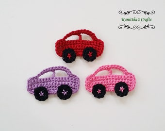 Crochet car applique small,Crochet motifs,Baby blanket accessories,Sewing accessories,Scrapbook making,Cards making