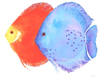 Discus Fish painting, tropical fish art, canvas art, aquarium fish, beach house decor, coastal decor, bathroom art, kitchen art, Jan Matson