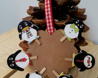Set of 6 mini clothespins wooden Penguin 23 x 24mm