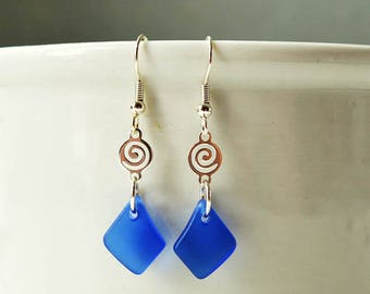 Dark blue sea glass earrings danlge earrings seaglass earrings seaglass jewelry sea glass jewelry handmade jewelry beach glass gifts