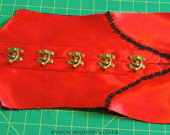 Swing Hooks to Fasten Corsets (alternative to busks) Pack of Five with Rivets