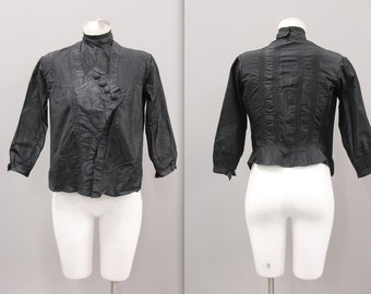 Victorian Blouse with High Neck, Black Silk with Pintucks, Edwardian Mourning Blouse with Button Front and Pin Tuck Designs, Black Blouse