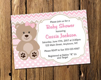 Printable Teddy Bear Girl Baby Shower Personalized Invitation