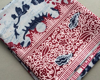 Batik fabric by the yard, cotton fabric in Bali Java style, sea shell design floral, for quilting patchwork or projects