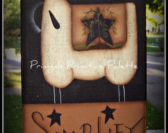 Primitive Star Willow Tree Sheep Wood Shelf Sitter Block Decoration