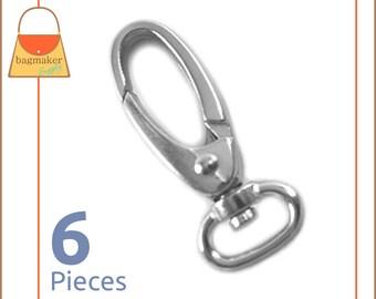 "1/2 Inch Swivel Snap Hook / Spring Gate Opening, Nickel Finish, 6 Pieces, Purse Handbag Bag Making Hardware Supplies, 1/2"", .5"", SNP-AA066"