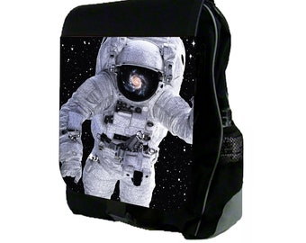 Astronaut in the Stars Large Black School Backpack