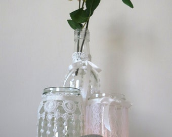 jar set \ candle holders jars and vas with white Venice lace.  Boho, Bohemian style wedding accessories.