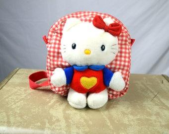 Rare Hello Kitty Sanrio Vintage 90s Plush Mini Backpack