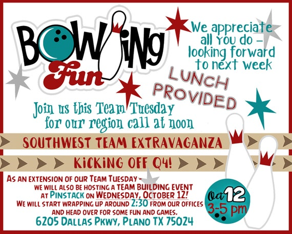 Bowling Birthday party or company event flyer or custom made