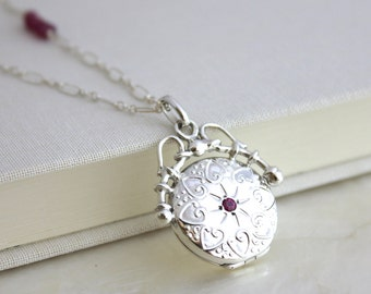Sterling Silver Antique Edwardian Style Ornate Locket Necklace w/Natural Rubies - Round - Eco Friendly Recycled Silver - Conflict Free