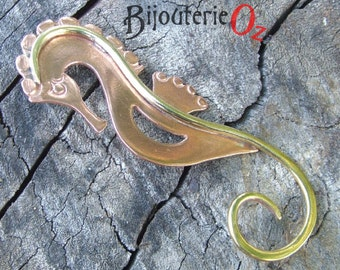 Seahorse Pendant, Seahorse Necklace, Mixed metal seahorse your choice of size and style by BijouterieOz