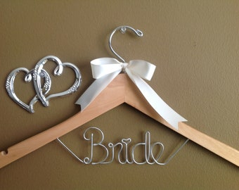 Personalized One line Wedding Hanger With Bow,Hearts Custom Bridal Hanger, Brides Hanger, Bride, Wedding Hanger, Personalized Bridal Gift