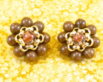 Brown and silver cluster bead earrings - Western Germany