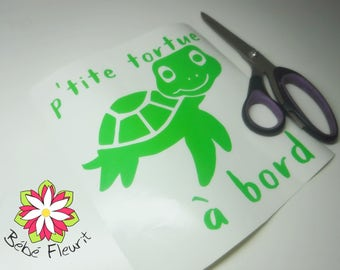vinyle Baby on board  P'tite tortue à bord (turtle on board)