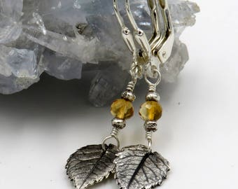 Rose Leaf Earrings - fine silver, sterling silver, citrine rondelle - one of a kind!