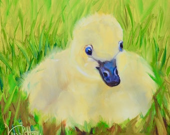 Waddley Buttercup//Duck Painting//Small Oil Painting